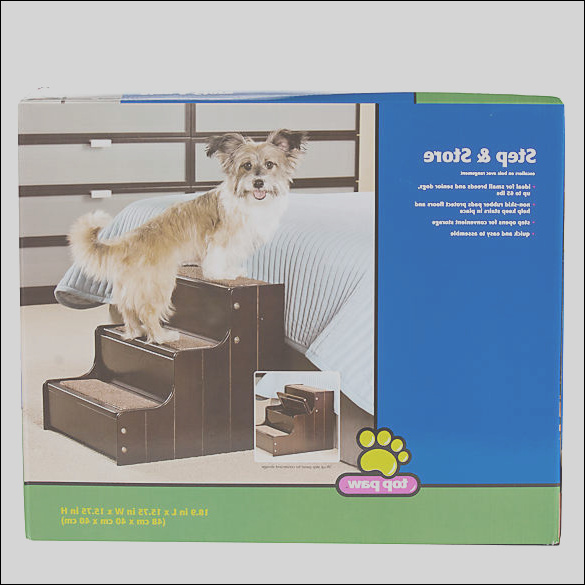 top paw step and store carpeted pet stairway