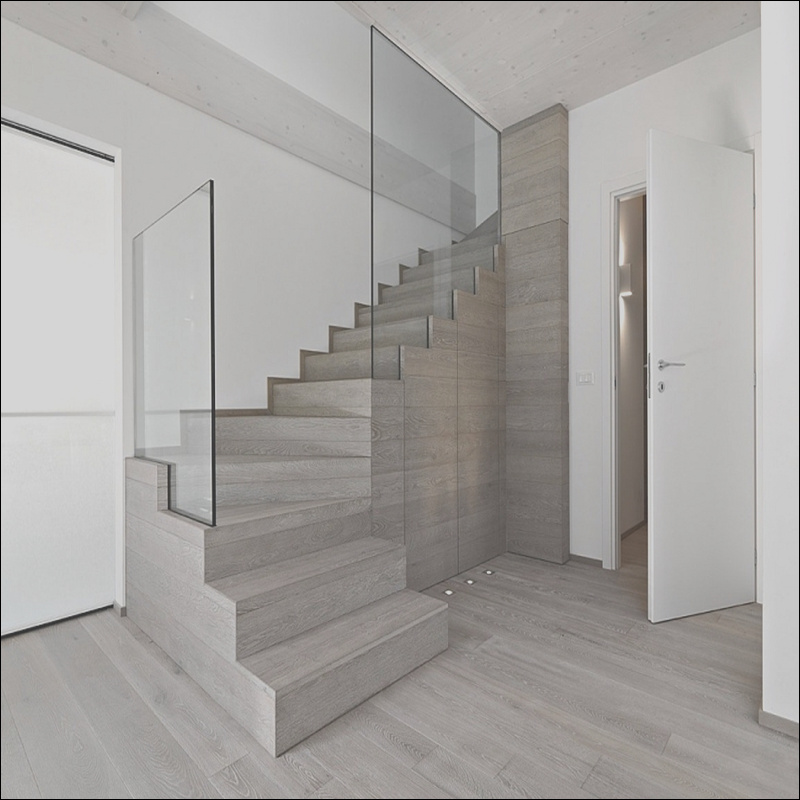 prefab timber house indoor modern stairs