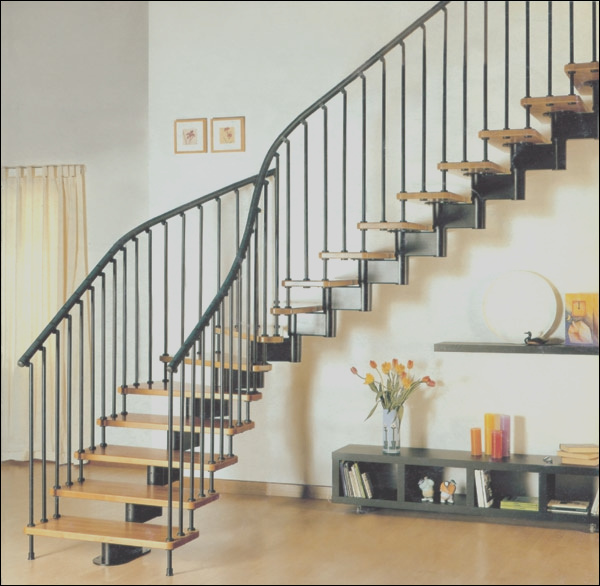 PVC stainless steel staircase design with handrail