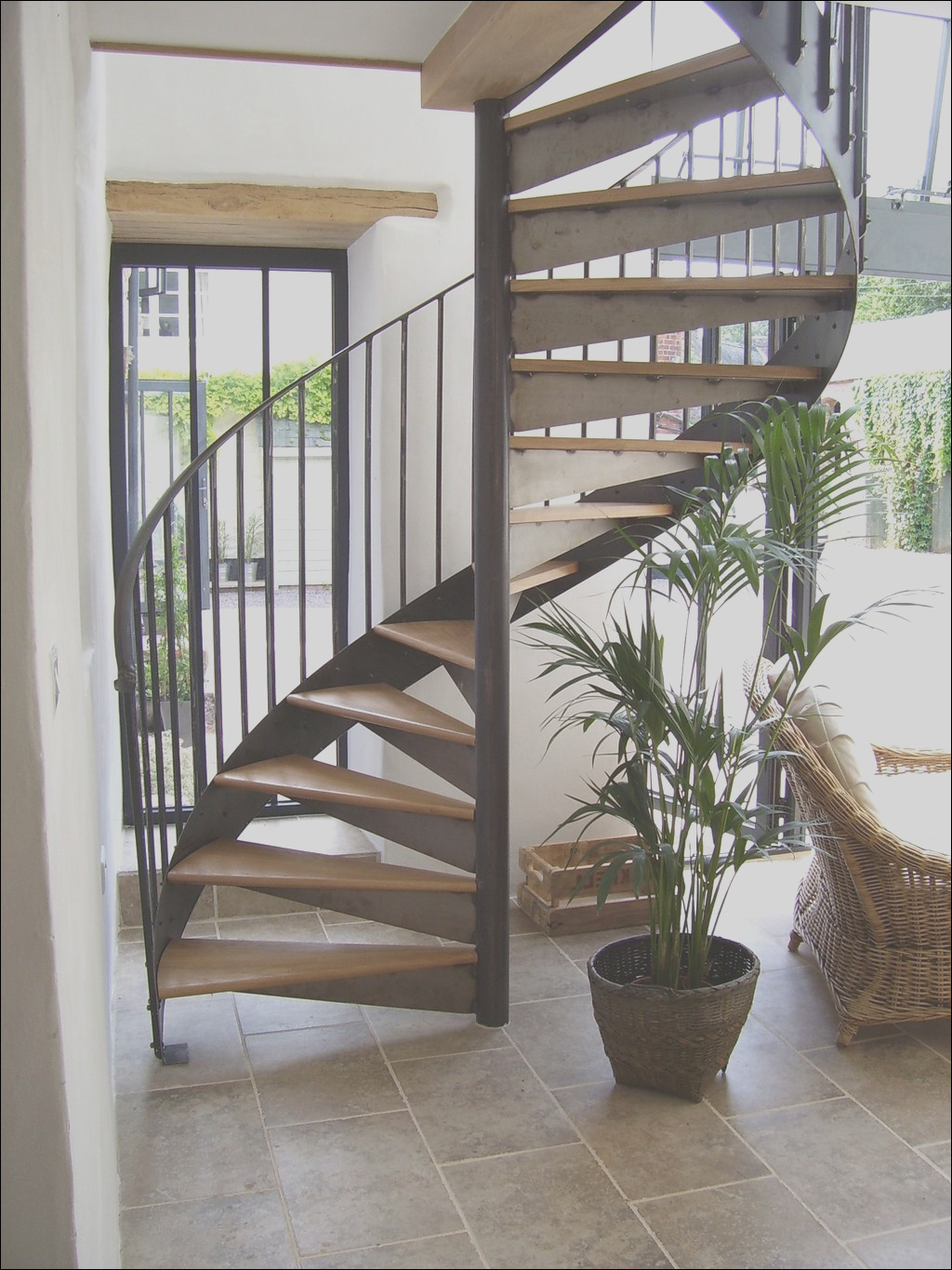 outdoor wooden spiral staircase