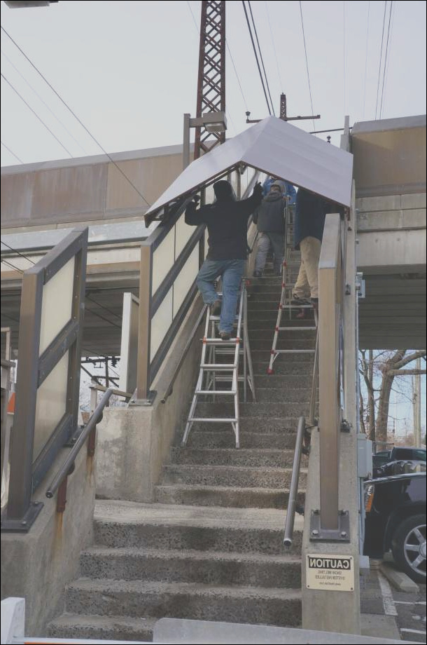 Canopies installed over stairs at Fairfield RR