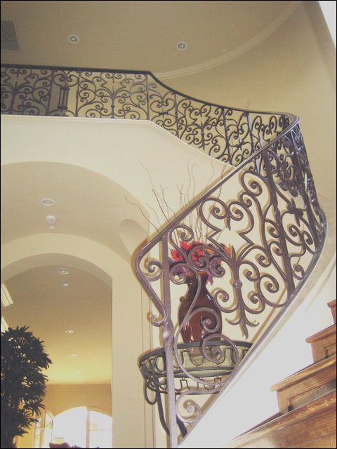 Wrought Iron Stairs mediterranean staircase los angeles
