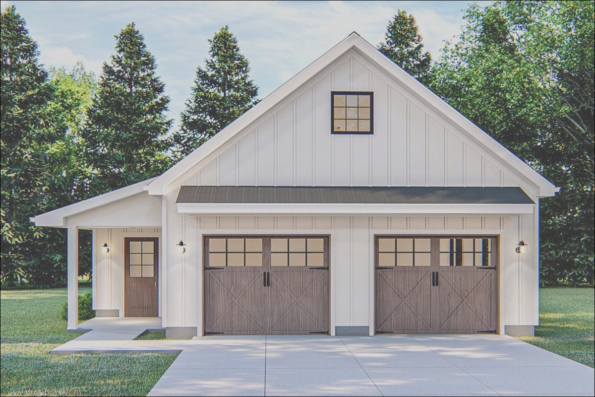 modern farmhouse detached garage with pull down stairs dj