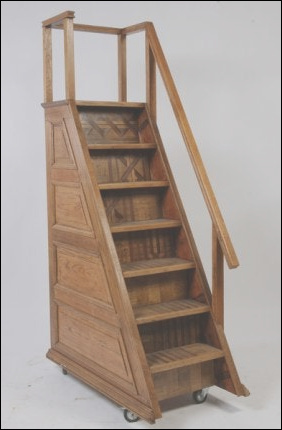 7 step oak set portable library stairs