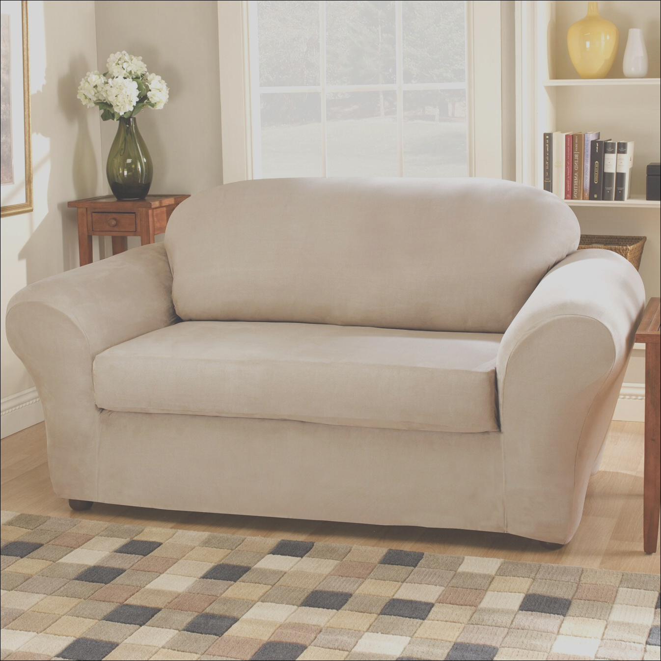 Sure Fit Stretch Suede Separate Seat Loveseat Slipcover SUR1413