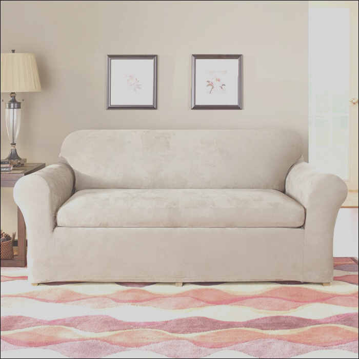 sure fit stretch suede separate seat box cushion sofa slipcover sur1410