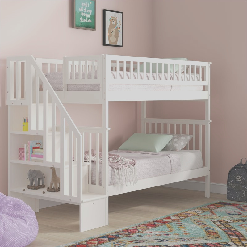 viv rae shyann staircase twin over twin bunk bed with bookcase vvre2597
