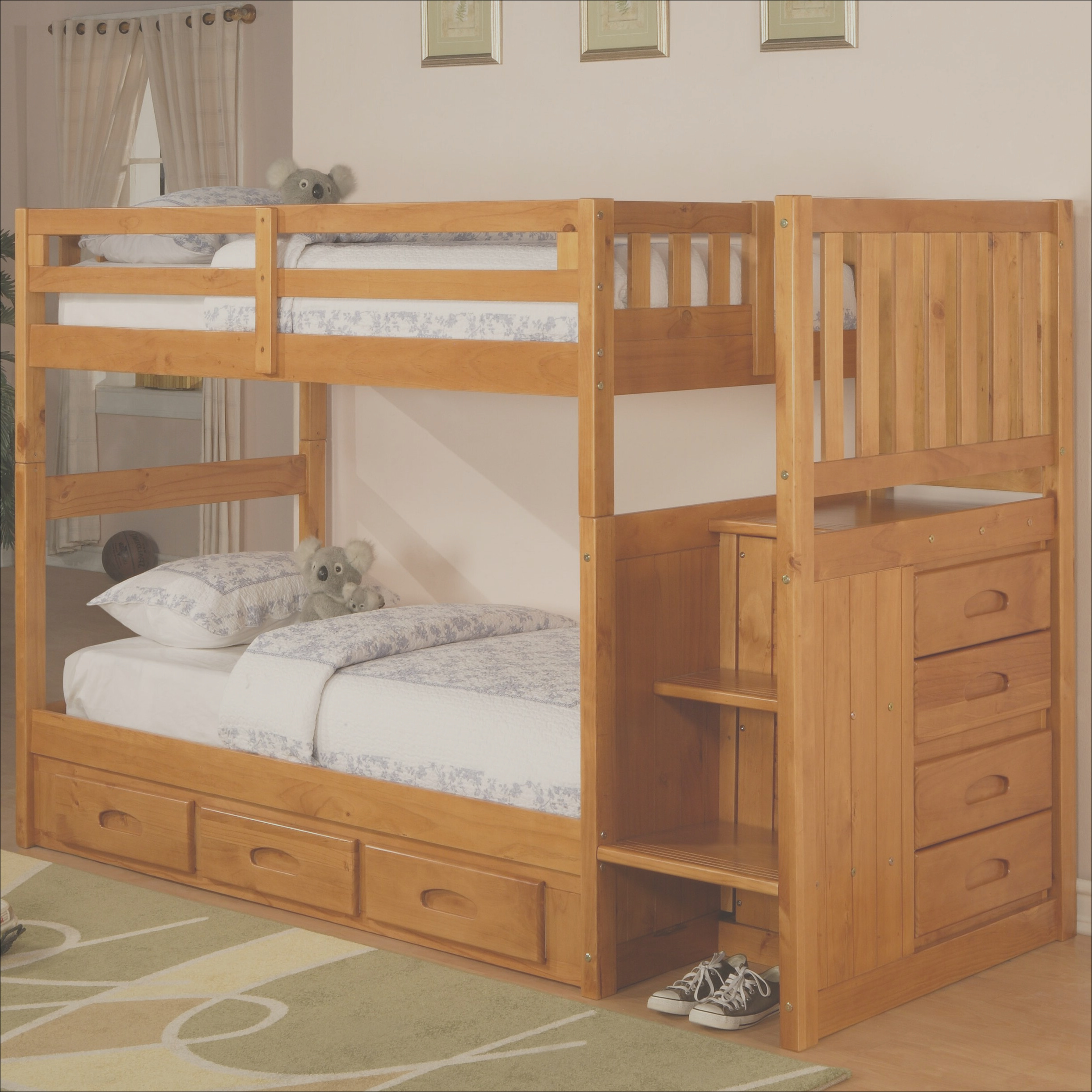 Discovery World Furniture Weston Twin over Twin Bunk Bed with Stairs and Storage 2814 DWF1004