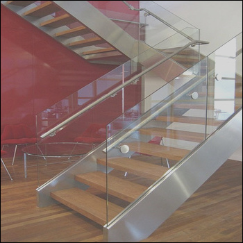 Steel glass wood staircase grill design