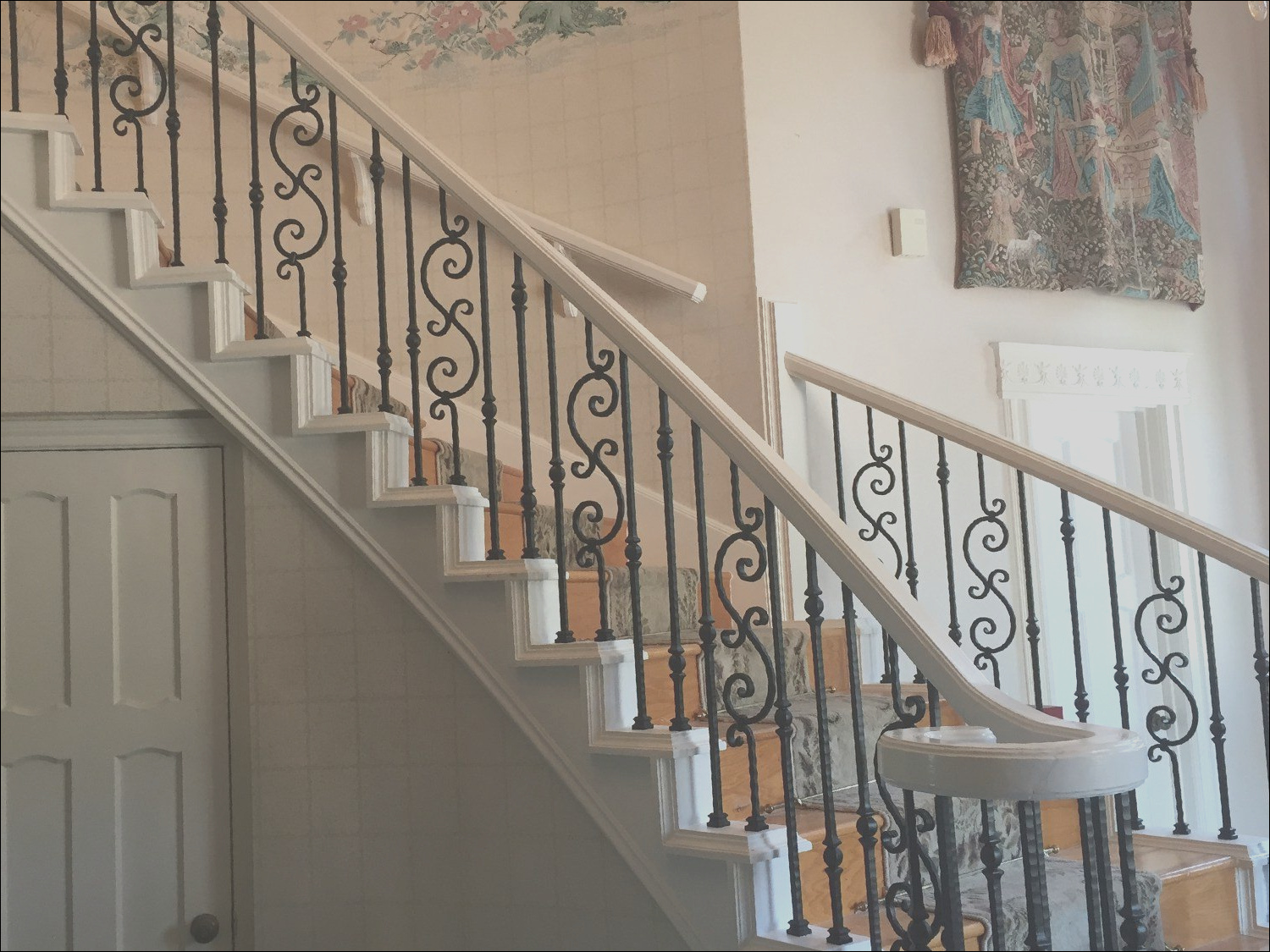 wooden grill design for stairs