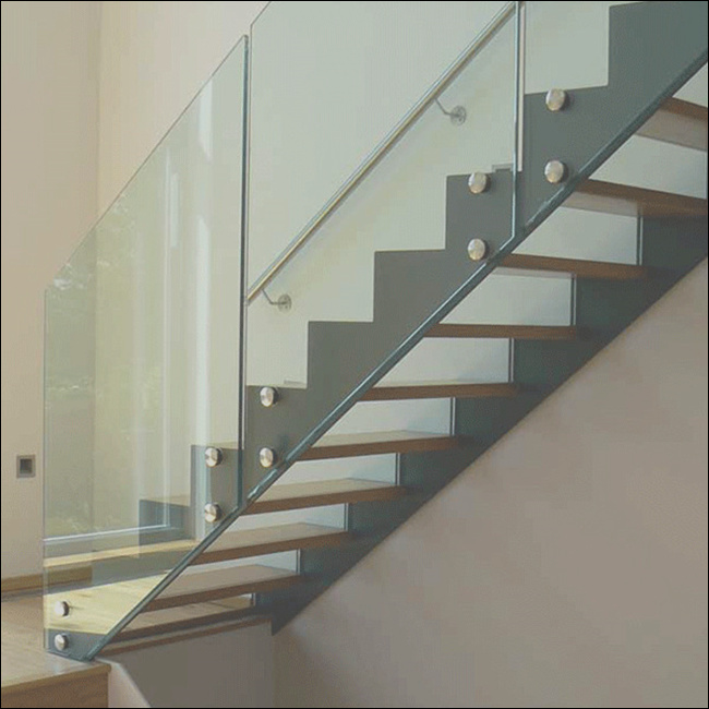 Steel wood stairs grill design straight