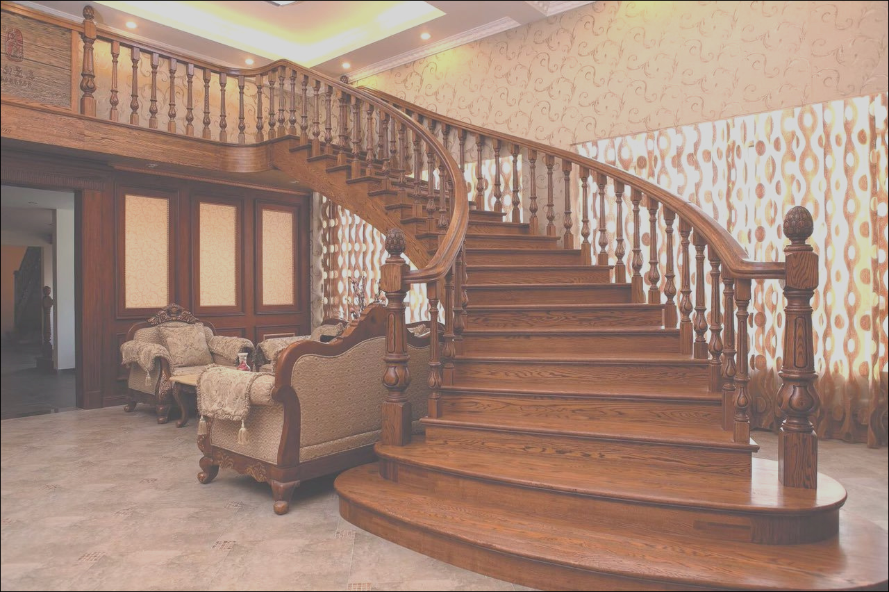 China Europ Design Classic Curved Wooden Staircase