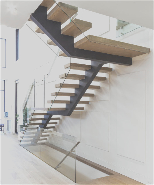 China Solid Wooden Indoor Staircase Design with Anti Slip Tread Floating Glass Stairs