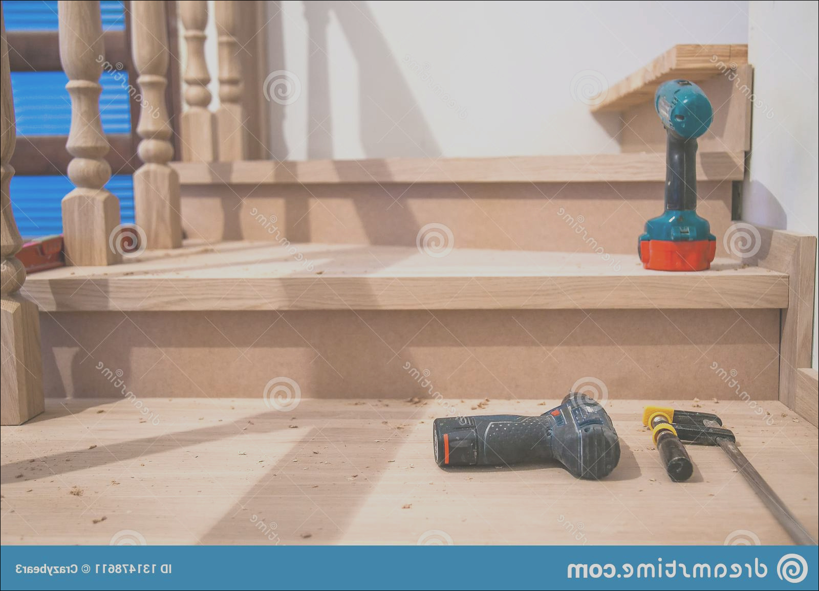 manufacturing repair wooden stairs residential building close up image