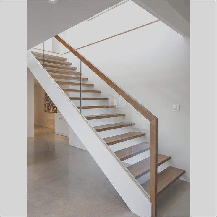 China Modern Wood Handrail Glass Railing Wooden Steps Staircase