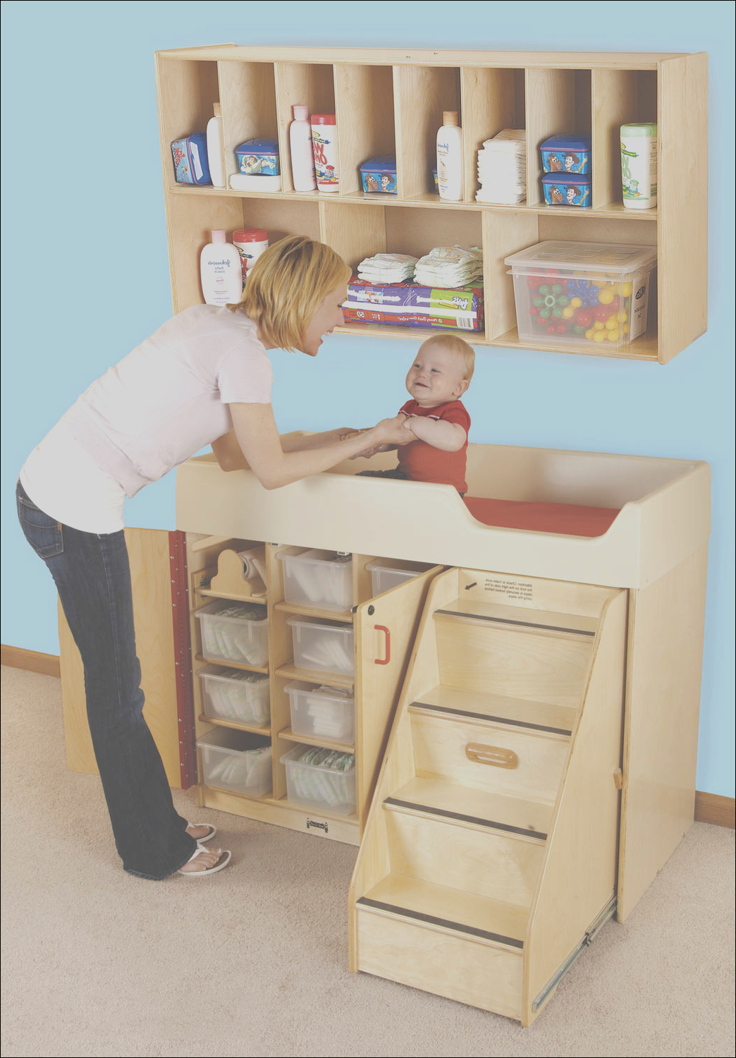wood changing table with stairs diaper organizer