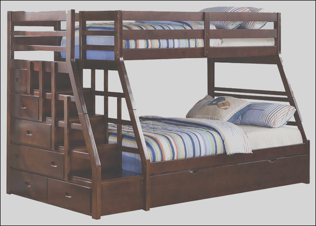 espresso wood stairway chest twin over full bunk bed w trundle step stairs contemporary bunk beds