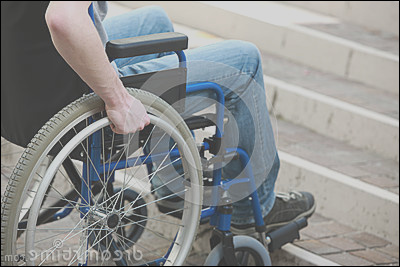 royalty free stock image architectural barrier young man wheelchair who can t up stairs image