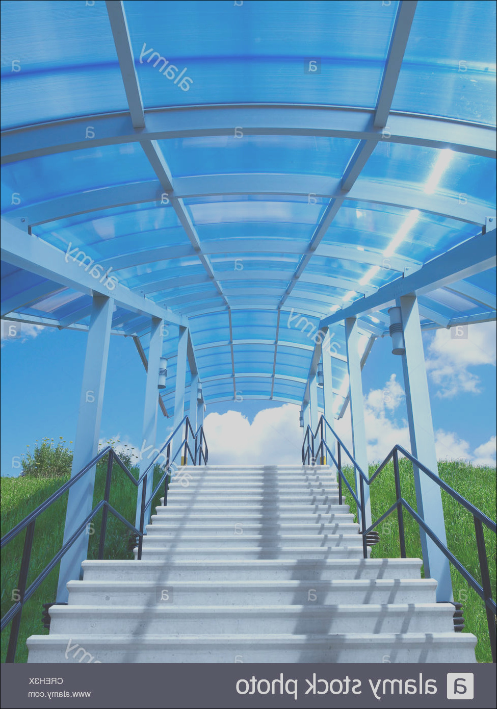stock photo stairs steps with blue glass canopy