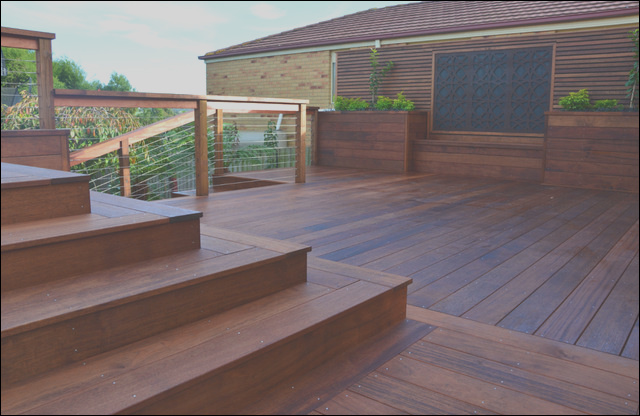 Deck stairs and screening in Berwick modern deck melbourne