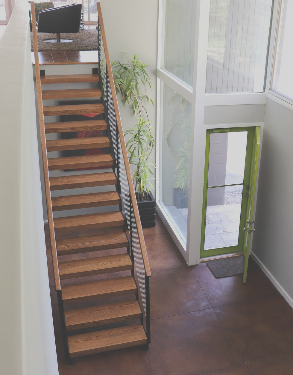 mid century modern home open stairs pittsford ny