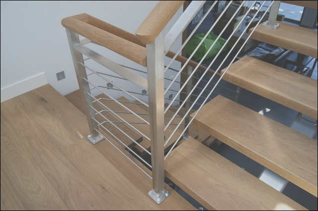 Oak and Stainless Steel Interior Railing contemporary staircase vancouver