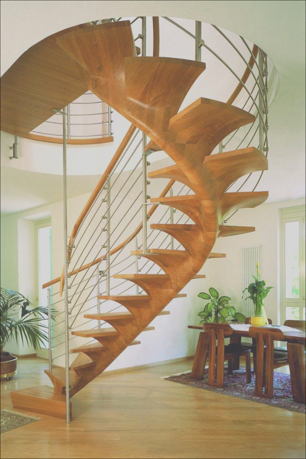 modern spiral staircase construction idea wood glass material siller trepen