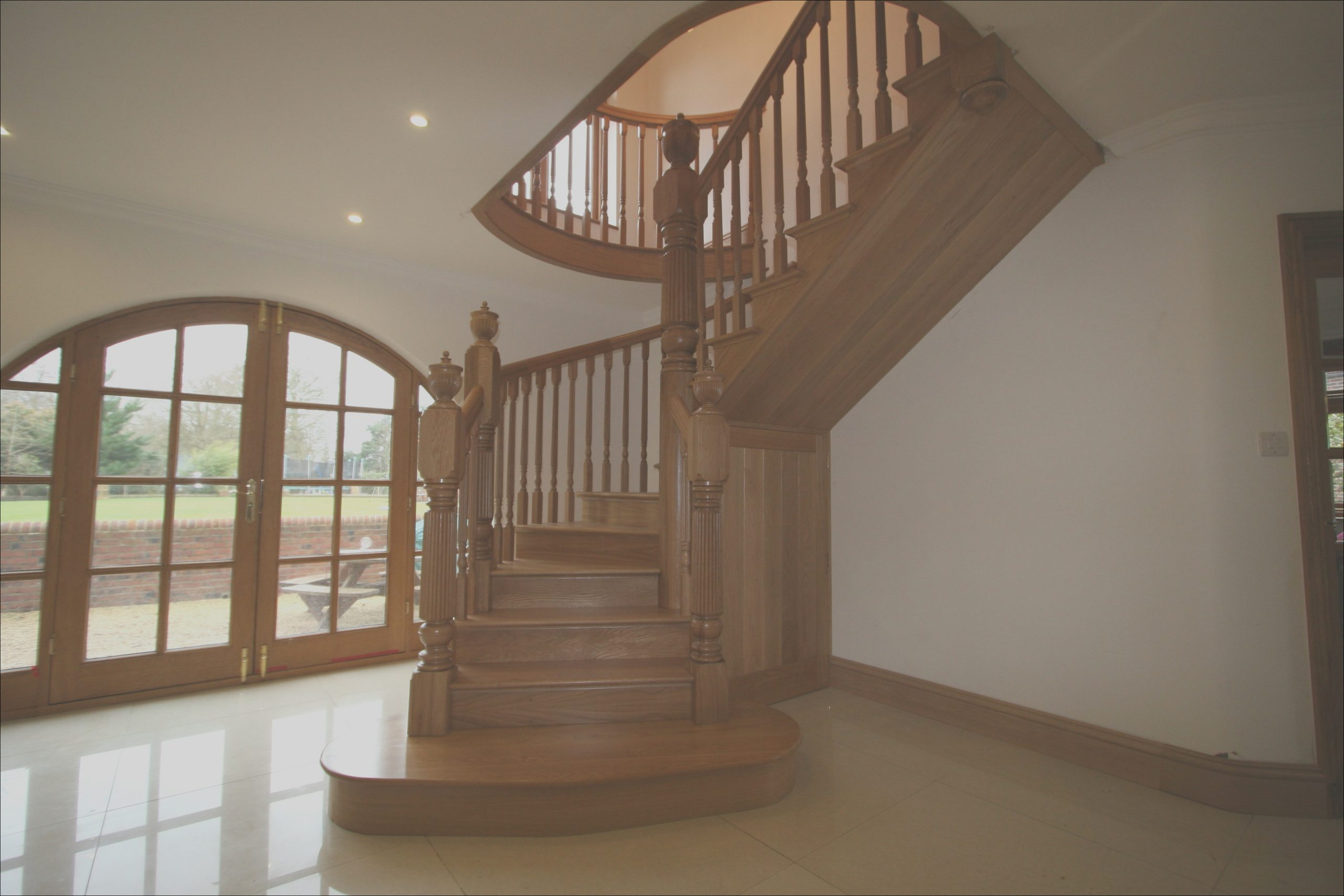 curved wooden staircase for modern house