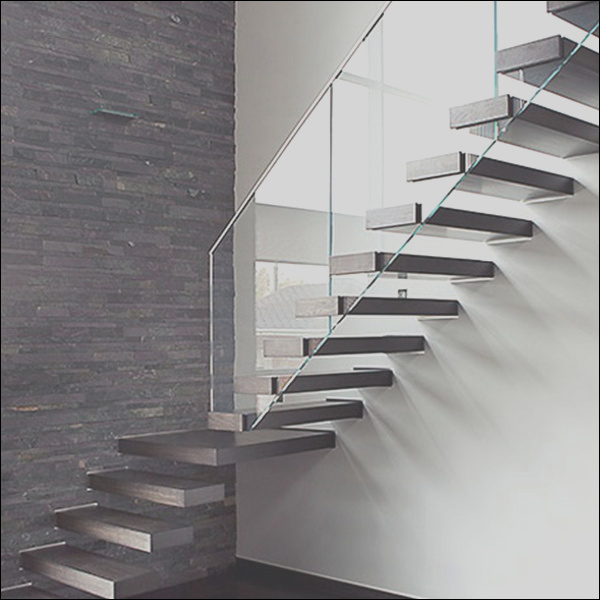 Contemporary Hot Residential Floating Staircase Design Customized Strong e Side Stringer Solid Wood Stairs Treads With Glass Railing