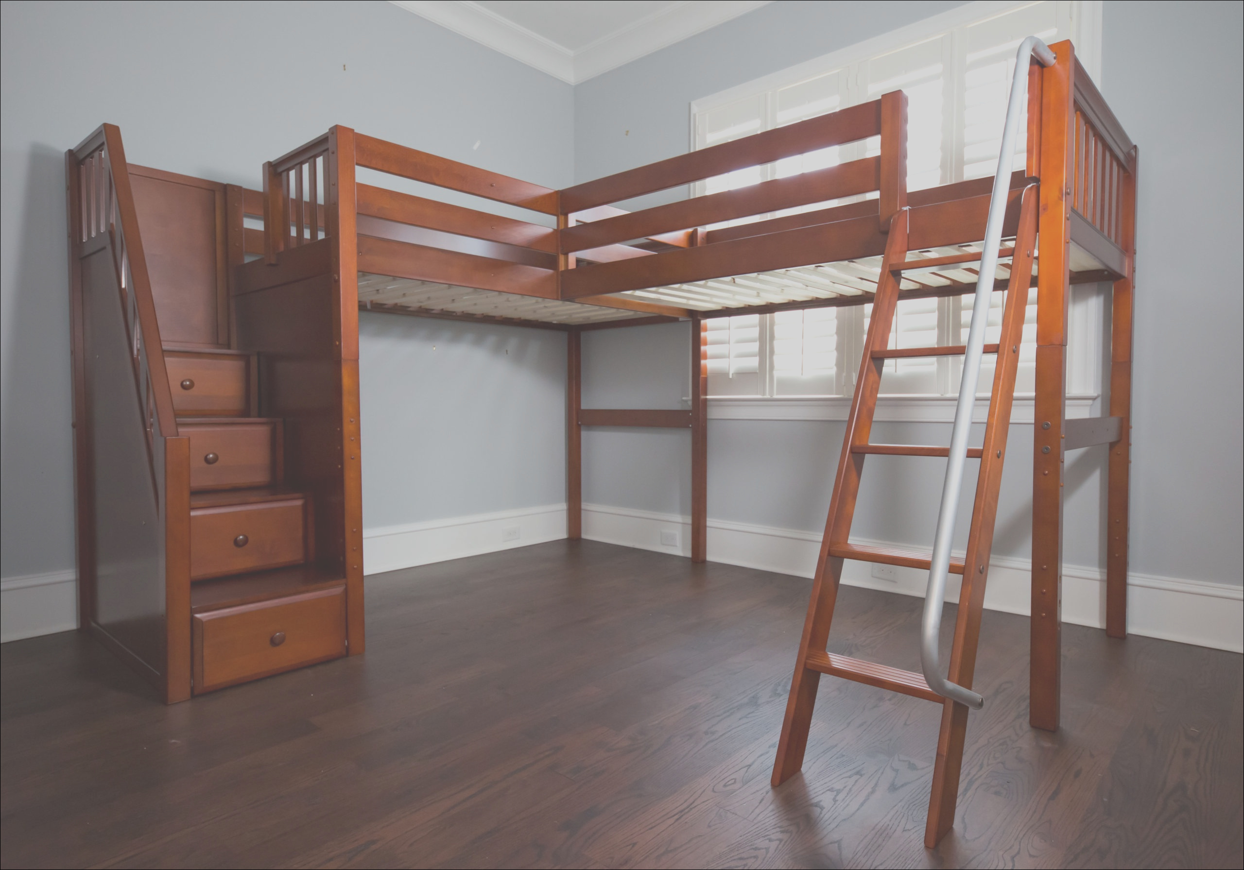 maxtrix twin high corner loft bed with ladder and stairs