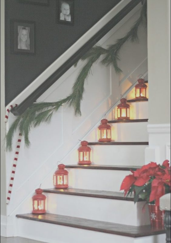 Decorating Stairs with Lanterns Awesome 37 Beautiful Christmas Staircase Décor Ideas to Try Digsdigs