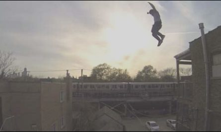 Guy Jumps From Roof to Stairs Best Of Guy Jumps Off Building Slides Down Roof Lands On Stairs