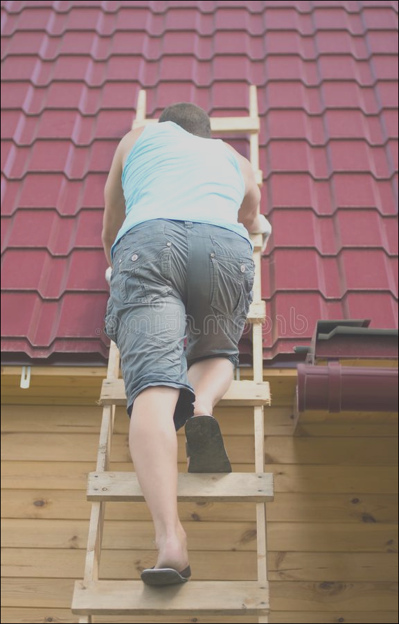 man climbed stairs to check roof house hurricane image