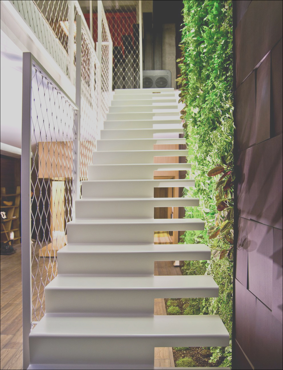 white floating open staircase