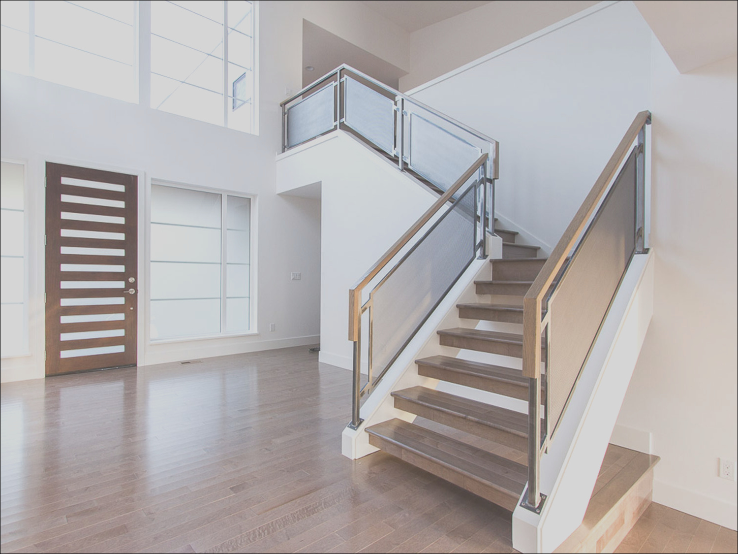 modern home guardrails for main interior stairs