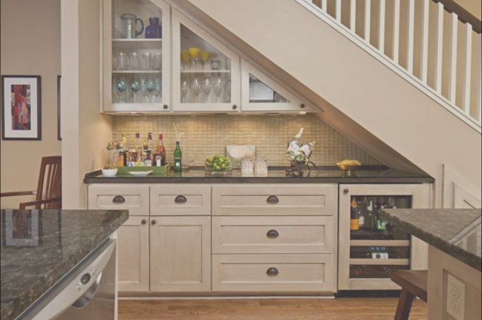 12 Simple Mini Bar Under Stairs Design Stock