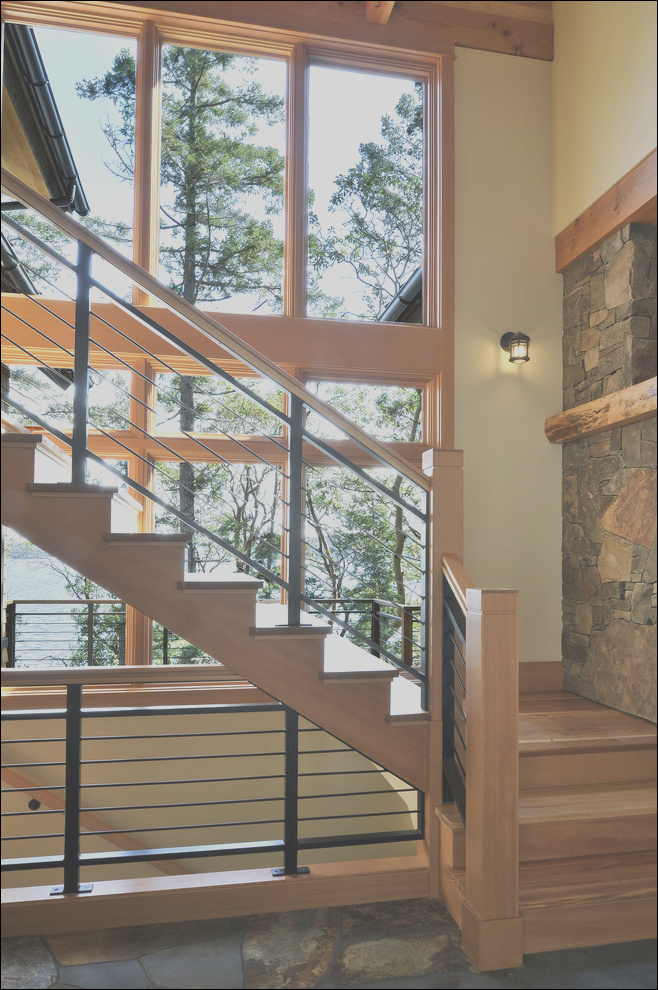 modern stair railing staircase with bench glass shade