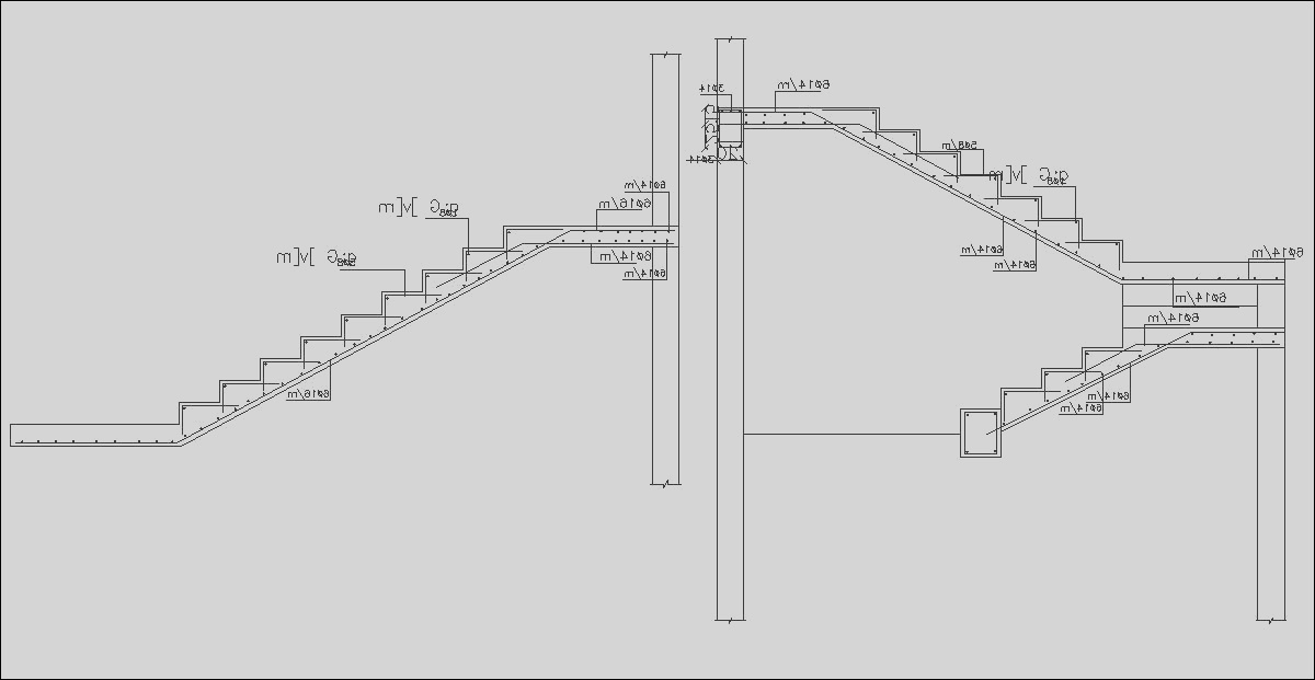 RCC Staircase Section Drawing Free DWG File