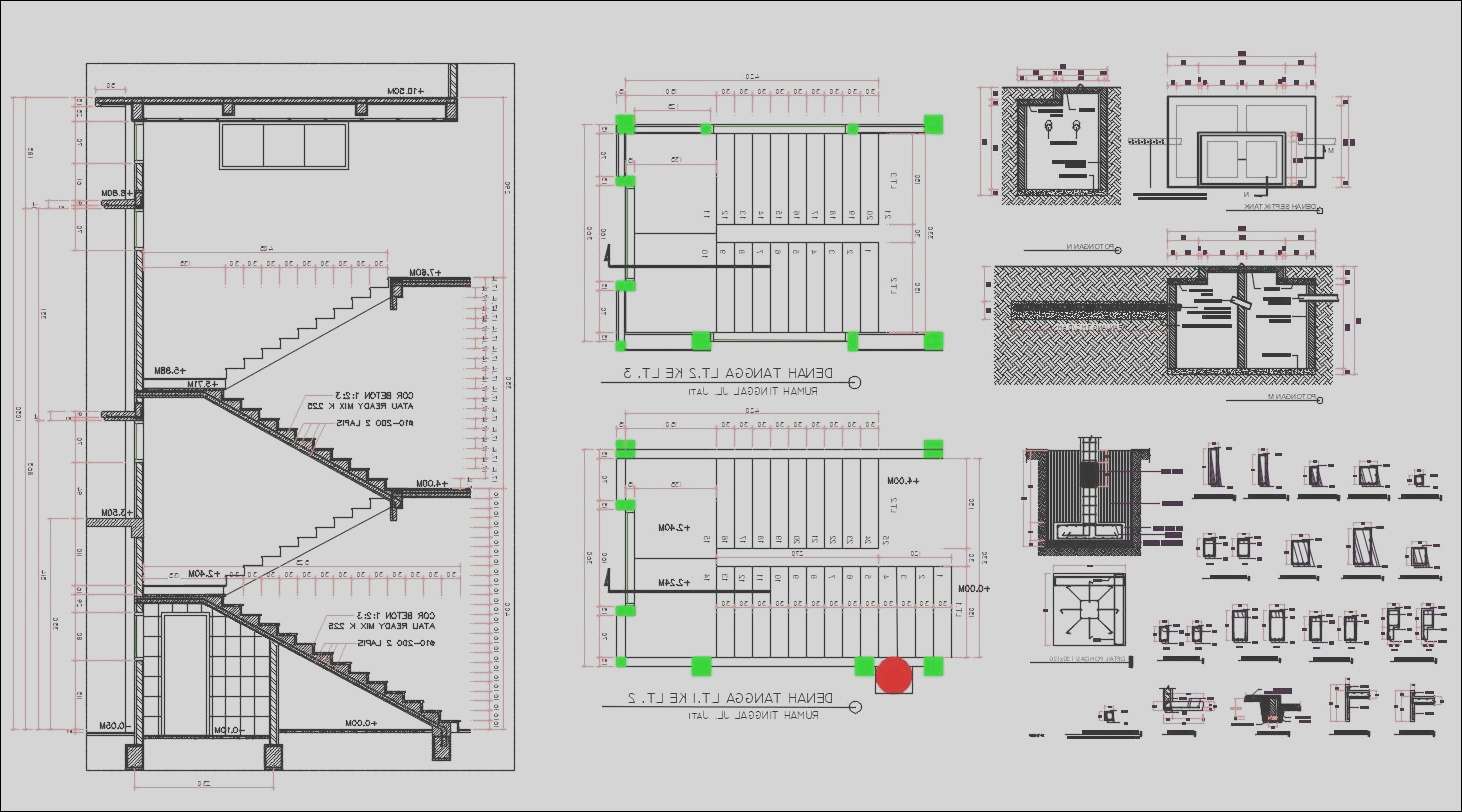Staircase With RCC Column Footing AutoCAD File