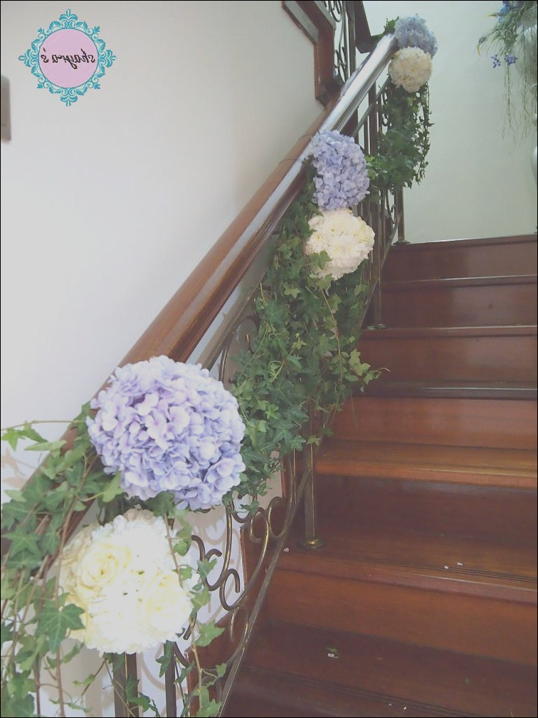 fresh flowers staircase decor