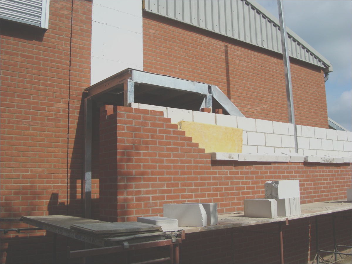 canopy pleted external staircase brickwork starts