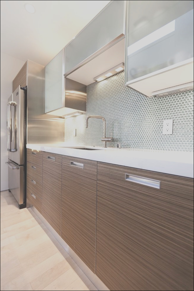 dishy two tone kitchens kitchen modern with penny tile pull down stairs