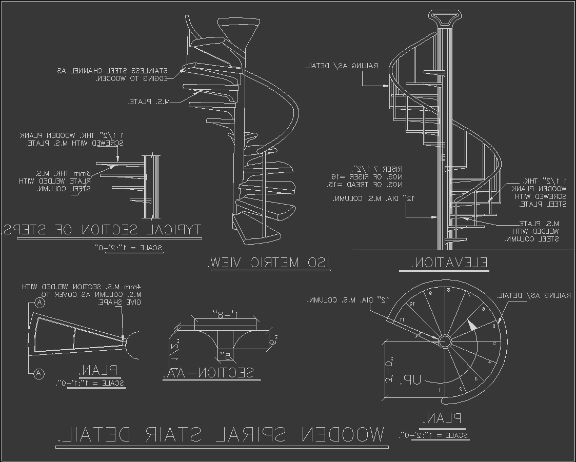 spiral staircase dwg section for autocad