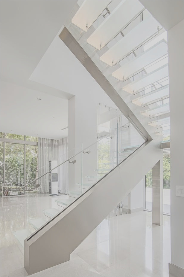 floating glass staircase with led lighting