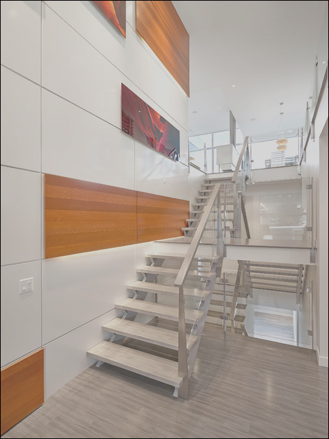 stairs and feature wall modern staircase edmonton