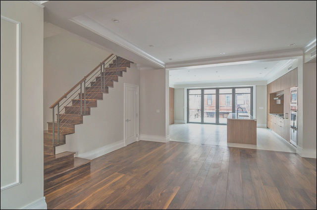 Dining room kitchen stairs to second floor transitional living room new york
