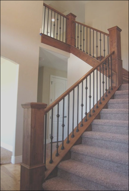 Wood Railing with Wrought Iron Balusters traditional staircase salt lake city