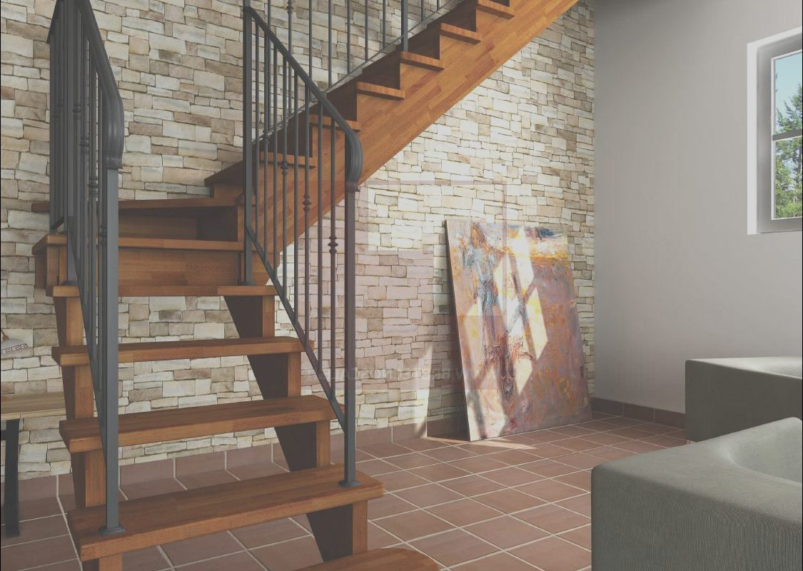 Stairs Wooden Frame Luxury Quarter Turn Staircase with A Lateral Stringer Wooden