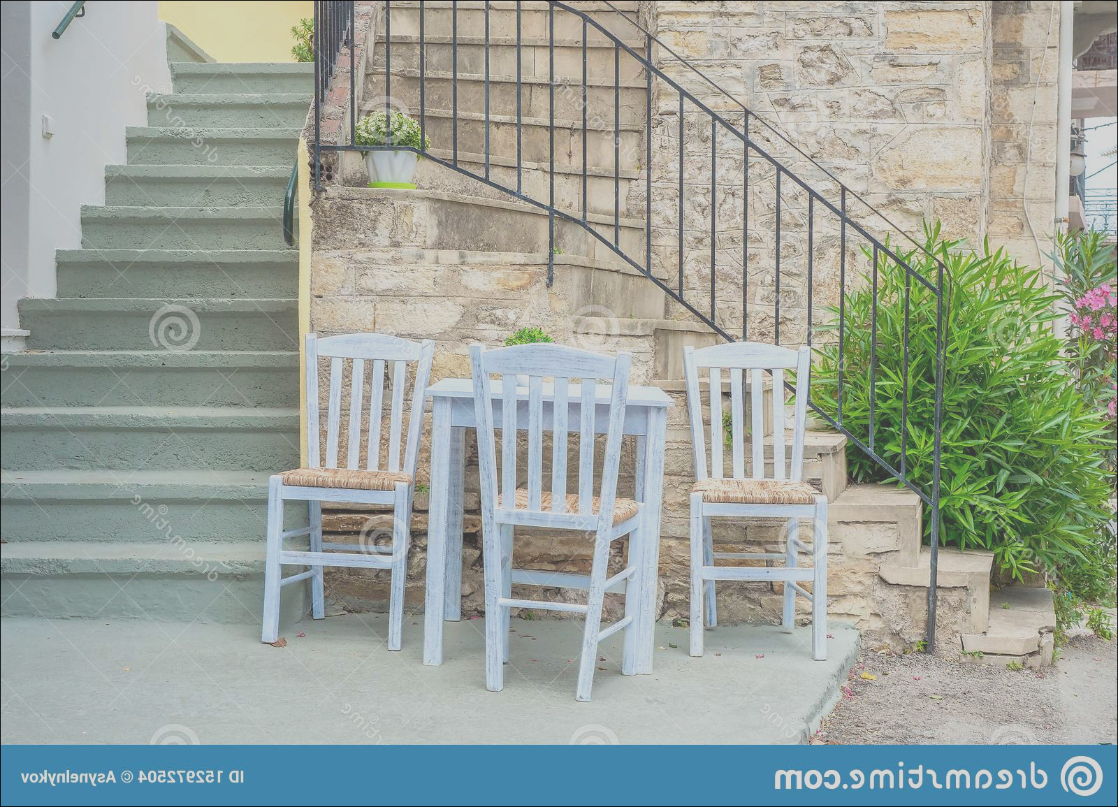 cafe exterior background countryard table chairs plant stairs fortable tavern restaurant traveling concept place image