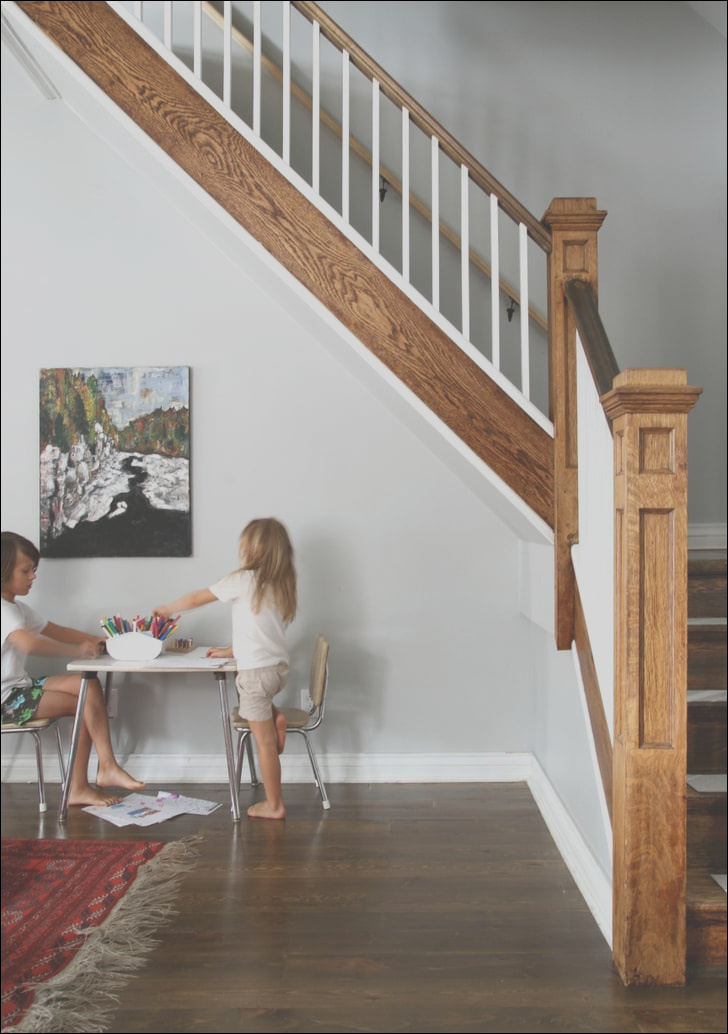 art table under stairs